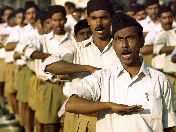 Volunteers of Rashtriya Swayamsevak Sangh in Kolkata