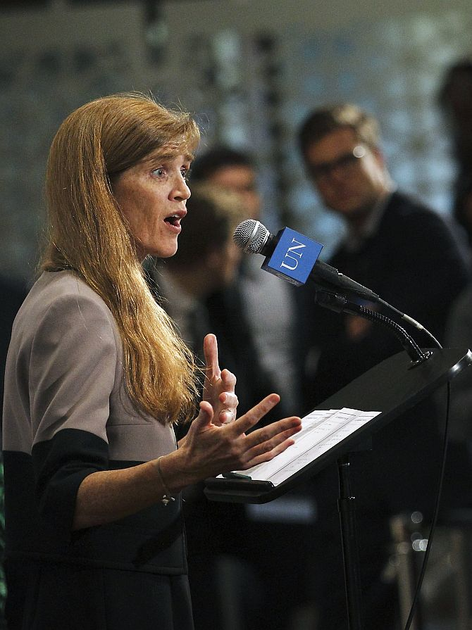 US Ambassador to the United Nations Samantha Power speaks to the press following a UN Security Council meeting at the United Nations Headquarters in New York