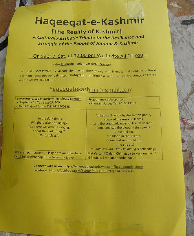The pamphlet about the parallel concert organised by Haqeeqat-e-Kashmir