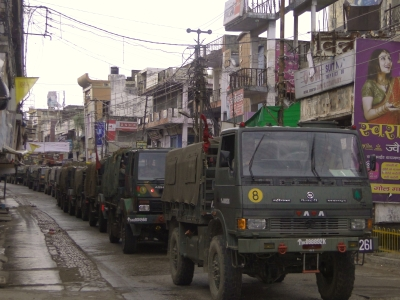 Army trucks patrol the streets of Mozaffarnagar