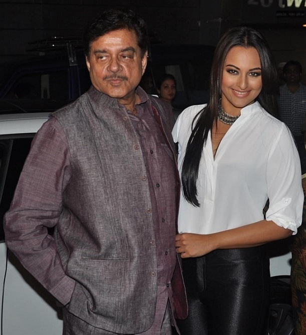 Actor Sonakshi Sinha with her father and Lok Sabha Member of Parliament Shatr