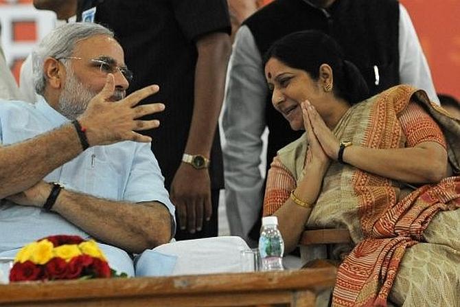 Gujarat Chief Minister Narendra Modi with Sushma Swaraj