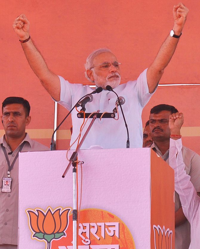 Narendra Modi addressing a rally in Jaipur