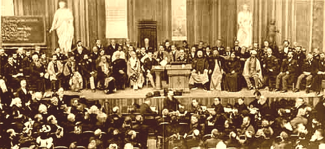 Swami Vivekananda (seventh from left) at the Parliament of World's Religions, Chicago, on September 21, 1893