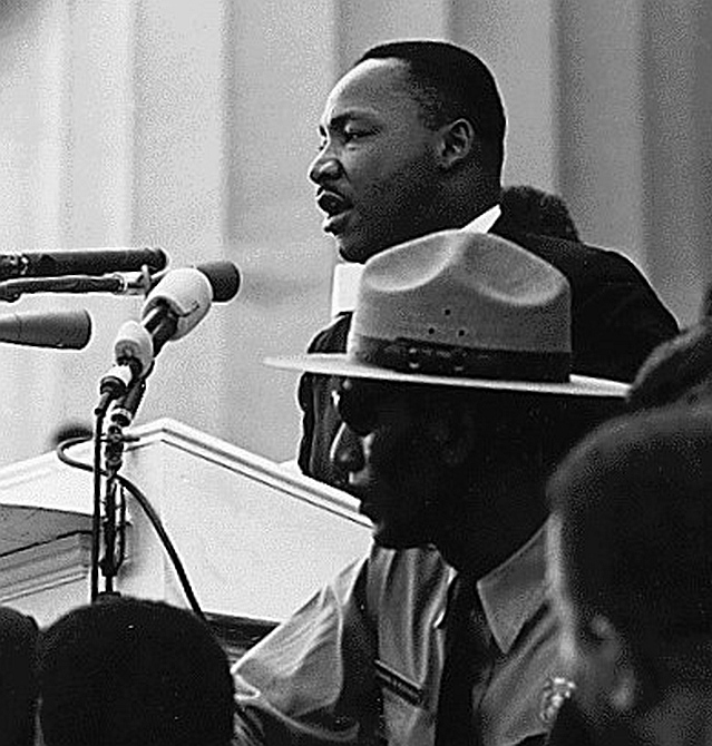 Dr Martin Luther King giving his 'I Have a Dream' speech during the March on Washington, DC, on August 28, 1963