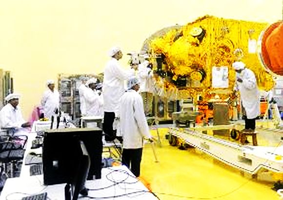 Scientists at ISRO working on the Mars mission in Bangalore
