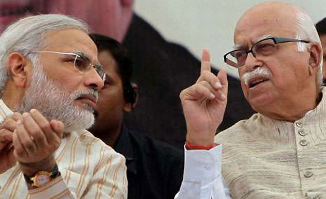 Modi with BJP veteran L K Advani