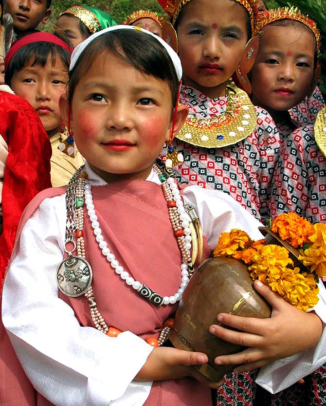 A file photo of a Sikkimese girl in traditional attire.