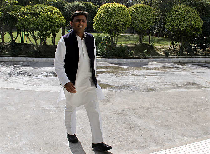 Akhilesh Yadav in Lucknow. The chief minister has admitted that 27 communal clashes have taken place in the state since he took over.