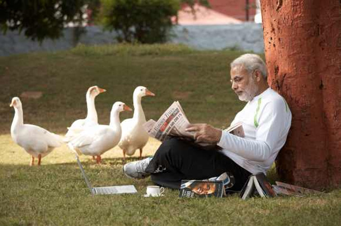 Modi on the lawns of his home in Gandhinagar.