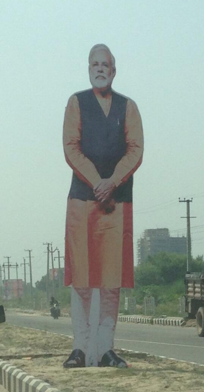 A huge cut out of Modi is seen in Rewari