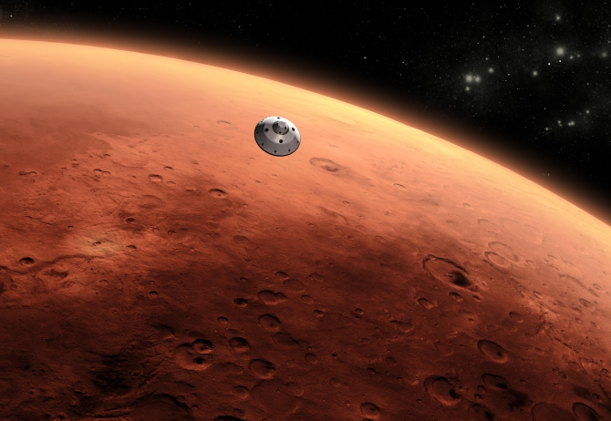 An artist's depiction of NASA's Mars Science Laboratory spacecraft approaching the red planet