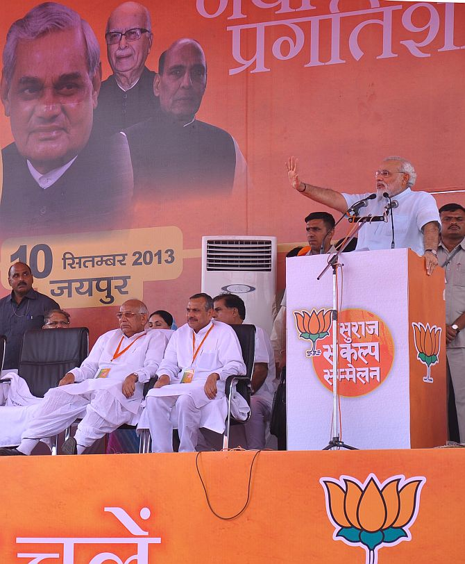 Narendra Modi at a rally in Jaipur