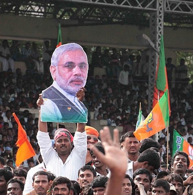 At the venue of Narendra Modi's Hyderabad rally