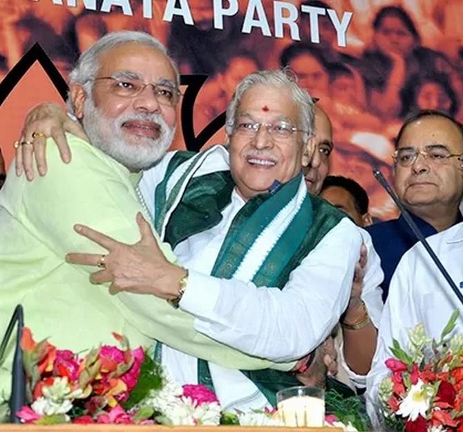 Narendra Modi with BJP leaders Murli Manohar Joshi and Arun Jaitley