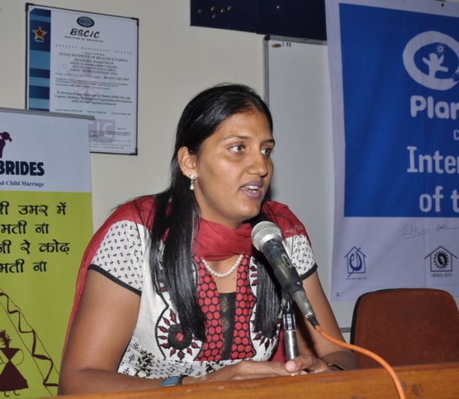 Krishna Poonia addressing mediapersons at a government function in Jaipur