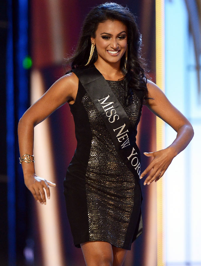 Nina Davuluri performs in the 2014 Miss America Competition at Boardwalk Hall Arena