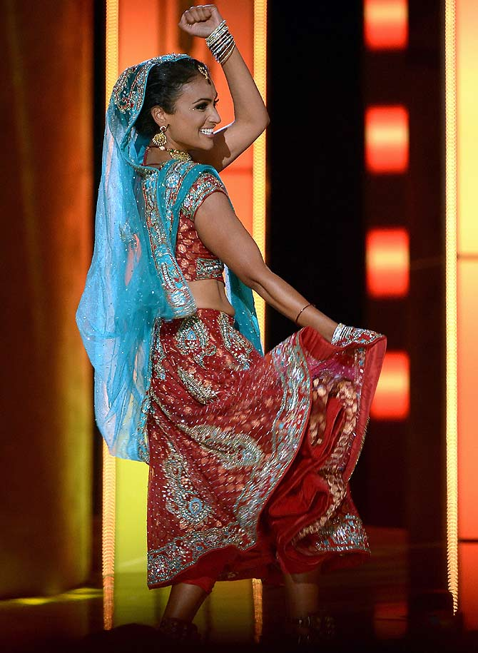 Nina Davuluri performs in the talent portion of the 2014 Miss America competition