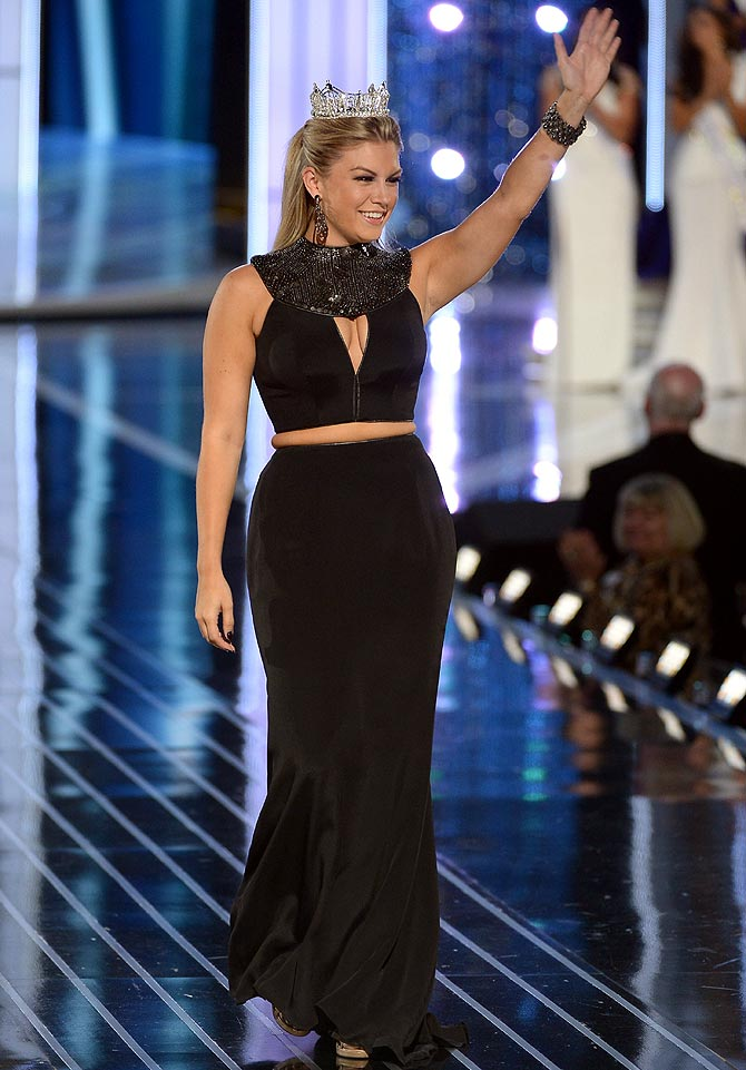 Miss America Mallory Hagan appears in the Miss America Competition at Boardwalk Hall Arena