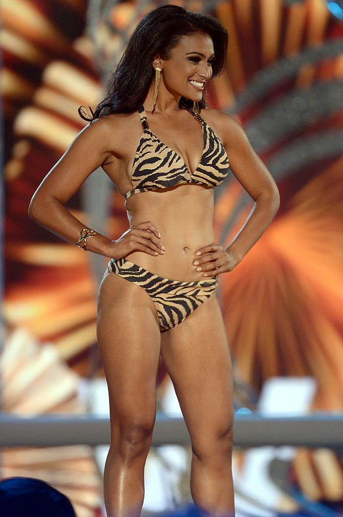 Nina Davuluri performs in the bathing suit portion of the 2014 Miss America contest