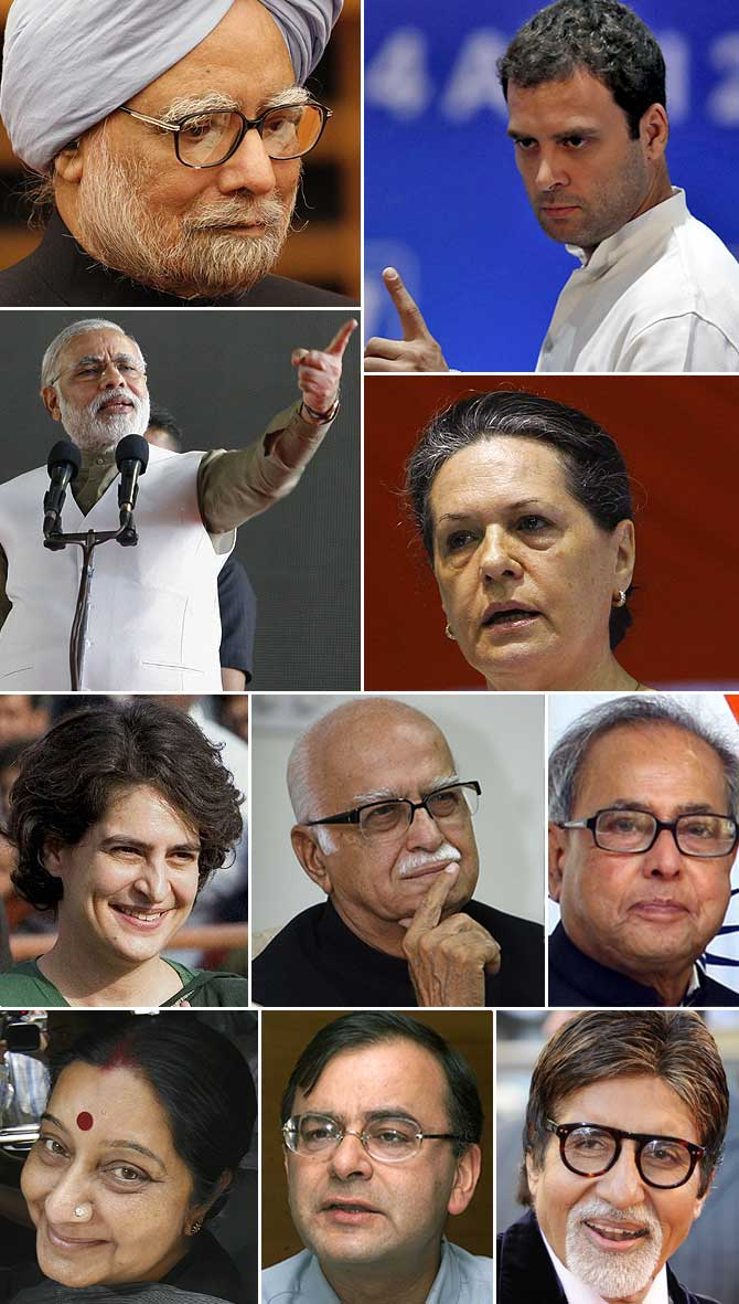Images of some of the political leaders shown to voters in Tamil Nadu