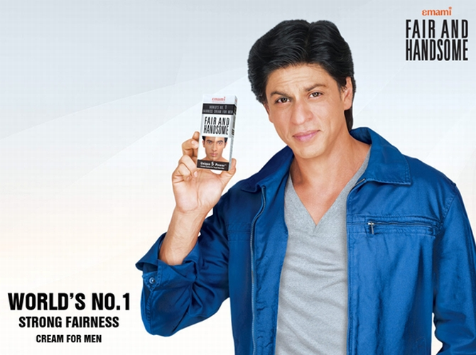 Actor Shah Rukh Khan endorsing a fairness cream
