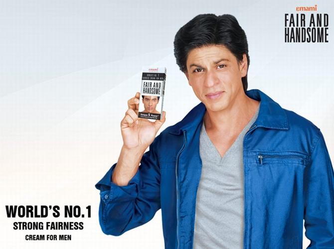 Actor Shah Rukh Khan endorsing a fairness cream