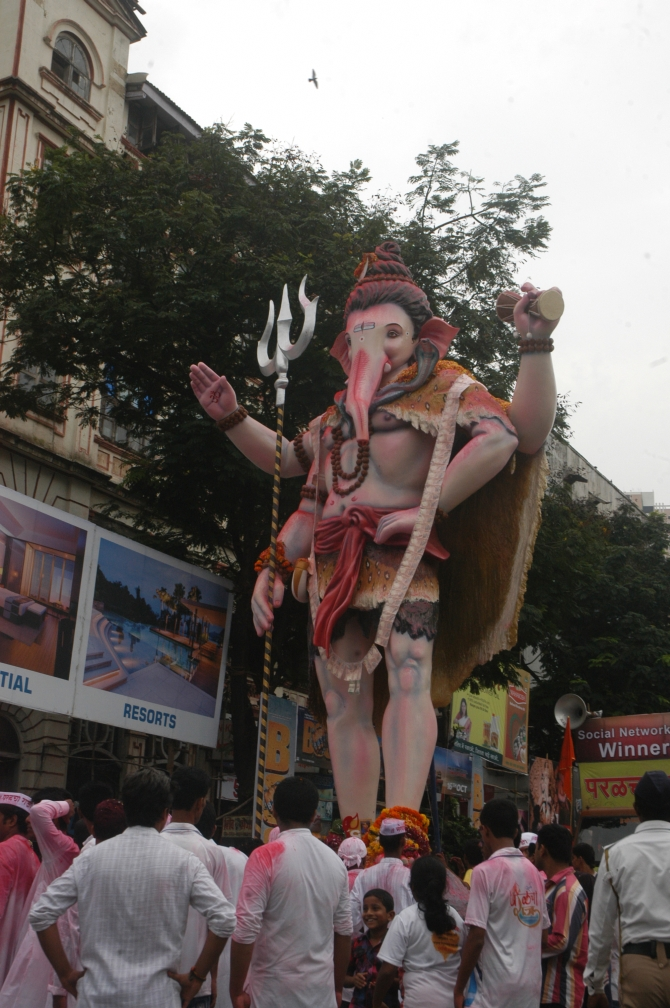 The Ganpati idol from the Nare Park area of Parel is headed for immersion