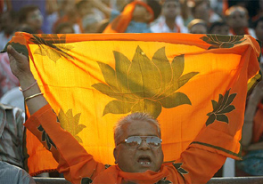 BJP supporters in Maninagar, Gujarat.