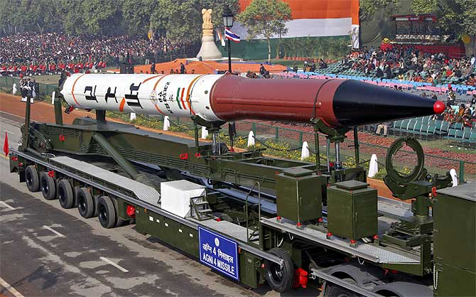 Agni 4 missile is seen during a rehearsal for the Republic Day parade