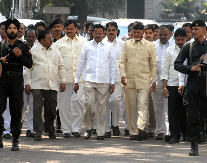TDP chief N Chandrababu Naidu with other party leaders in Hyderabad