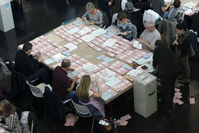 Election volunteers prepare postal votes to be counted at 1600 gmt with all other ballots in the German general election (Bundestagswahl) at the Messe in Munich