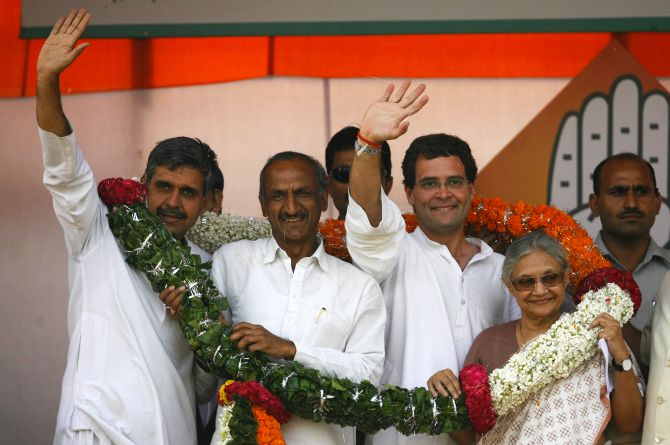 Rahul Gandhi with Delhi CM Sheila Dikshit and leaders Sandeep Dikshit and Jai Prakash Agarwal at a rally in the national capital.