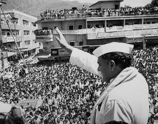 A file photograph of the late Rajiv Gandhi at an election rally.