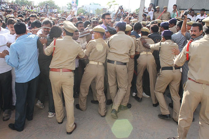PHOTOS: High drama at Jagan's release
