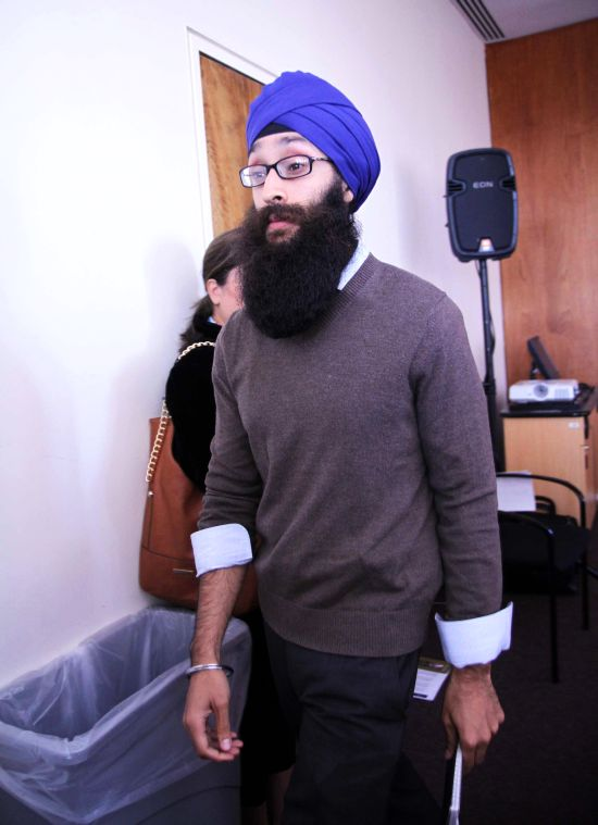 Dr Prabhjot Singh leaves after addressing the media on Monday in New York