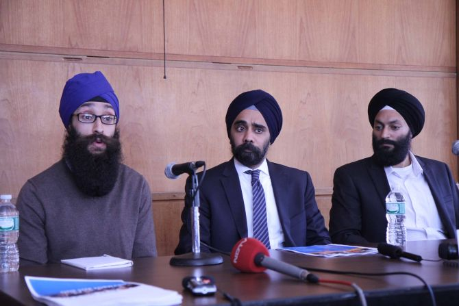 Dr Prabhjot Singh addresses mediapersons in New York on Monday
