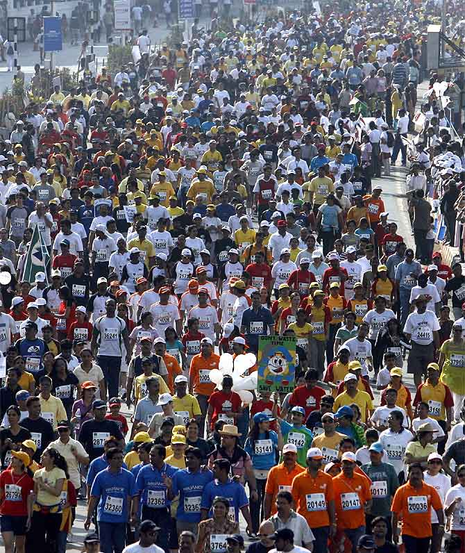 Participants at the Mumbai marathon.  Image used for representational purposes only.