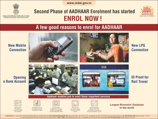 A government advertisement listing benefits of the Aadhaar card.