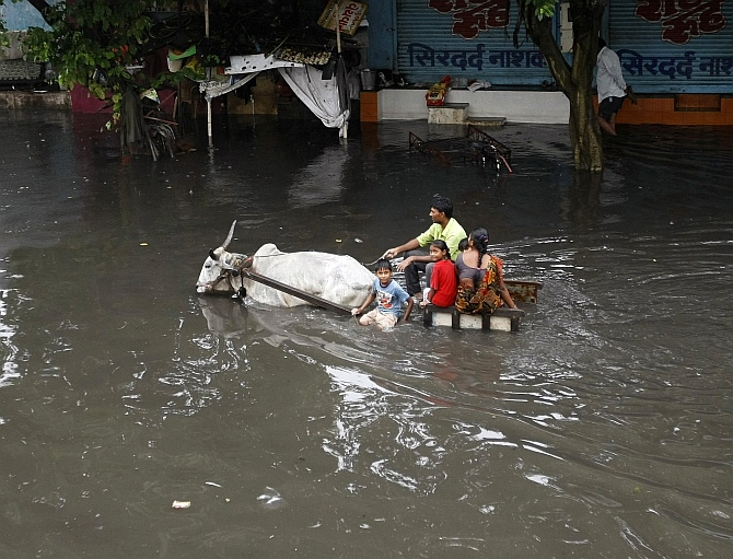 A family travels in a bullock cart through a flooded street after heavy rains in Ahmedabad