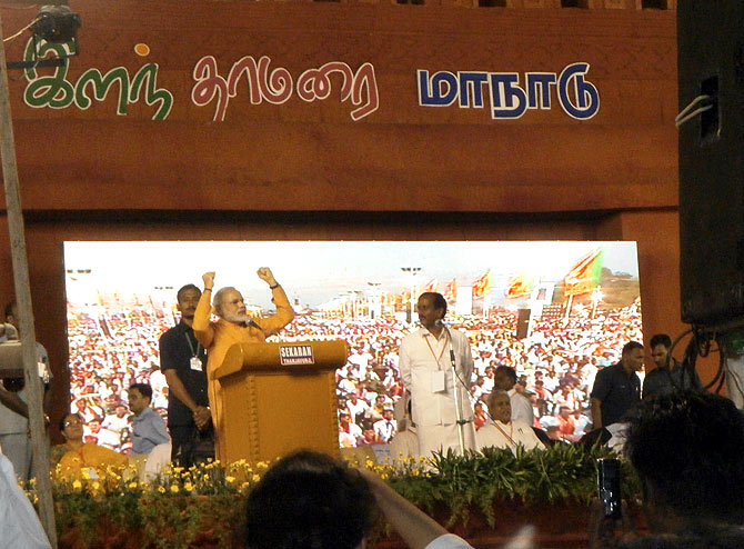 BJP pulls out all stops for Narendra Modi's TN debut