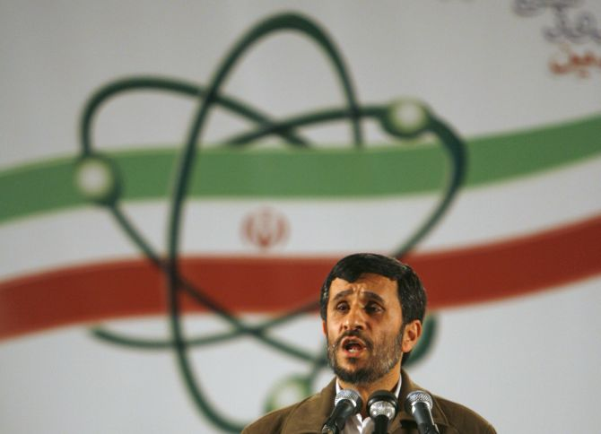 Former Iran President Mahmoud Ahmadinejad speaks during a ceremony at the Natanz nuclear enrichment facility in April 2007