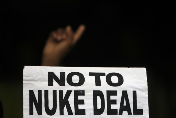 Activists take part in a protest against India's possible civilian nuclear deal with the United States during a demonstration by several citizen's groups in Mumbai in July 2008.