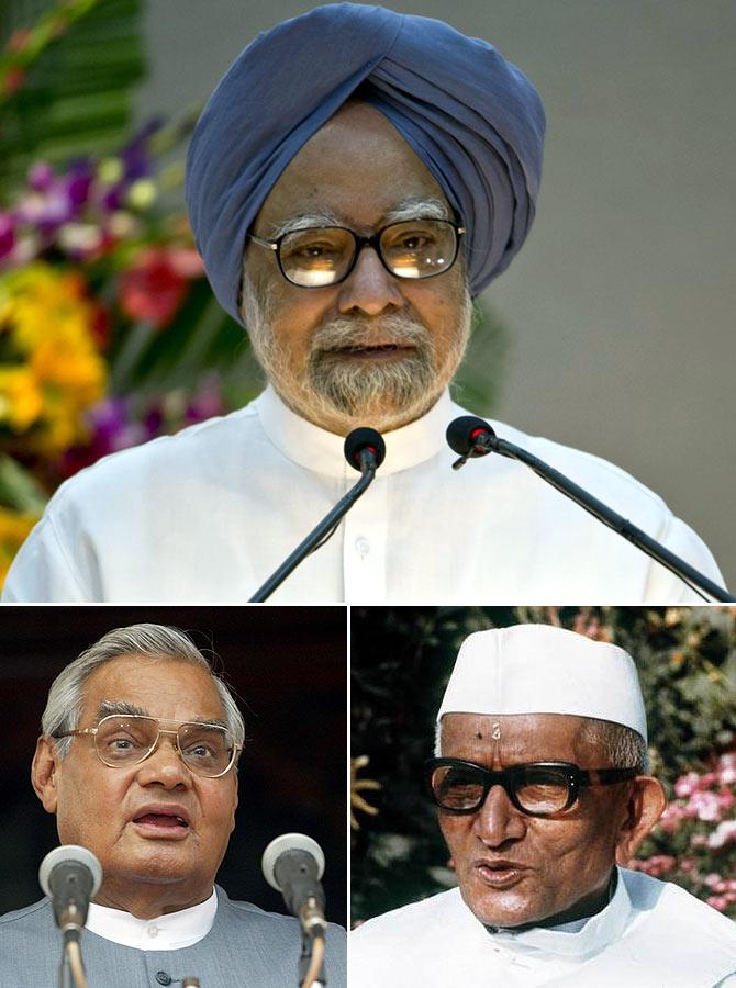 Prime Minister Manmohan Singh, former PMs Atal Bihari Vajpayee and Morarji Desai