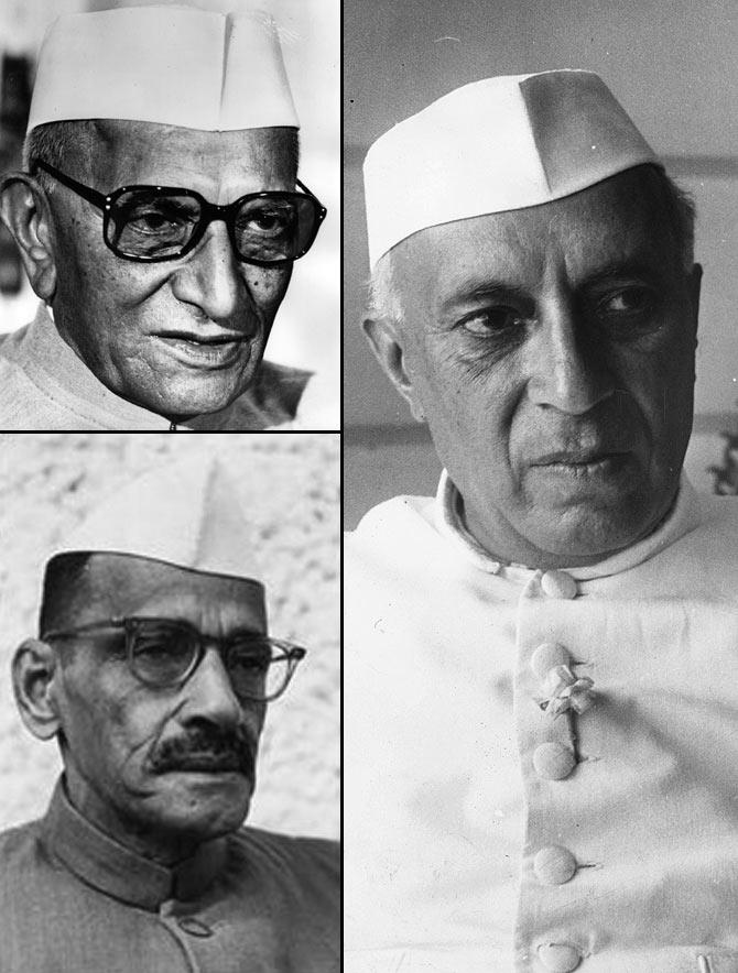 Former PMs Morarji Desai, Nehru and Gulzarilal Nanda