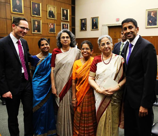 Sri Srinivasan (extreme right) with Gursharan Kaur, his mother Saroja Srinivasan, PM's daughter Upinder Kaur and Srinivasan's sister Srija Srinivasan