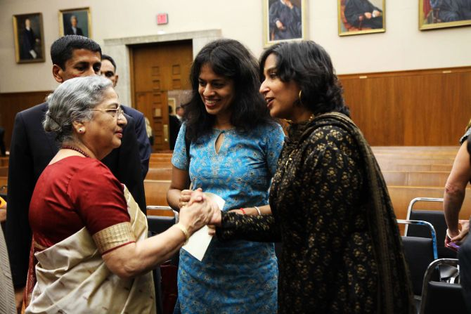Gursharan Kaur speaking to Srija Srinivasan. Also seen is Amrit Kaur, PM's daughter