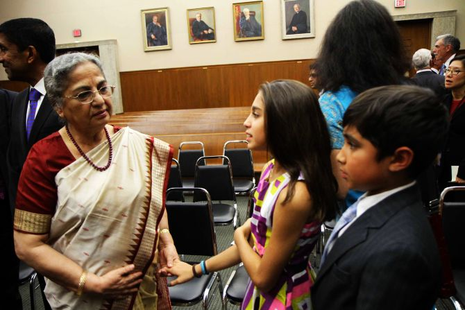 Gursharan Kaur with Sri Srinivasan's twins Maya and Vikram