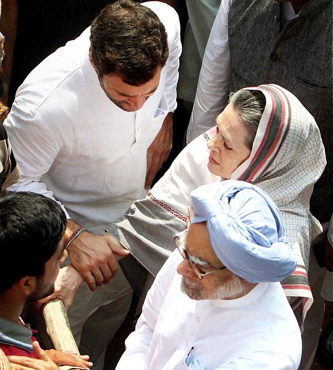 Prime Minister Manmohan Singh with Congress President Sonia Gandhi and party Vice-President Rahul Gandhi.