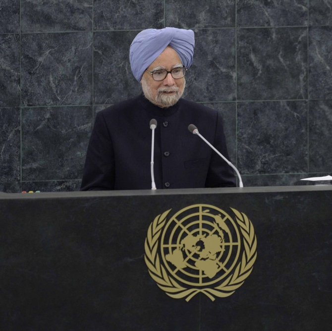 Prime Minister Manmohan Singh addresses the 68th United Nations General Assembly at U.N. headquarters in New York